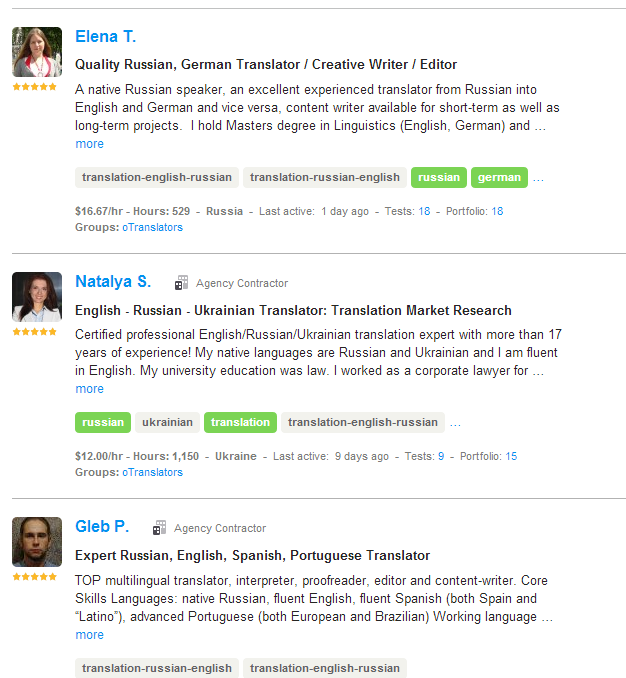 translator Russian oDesk search