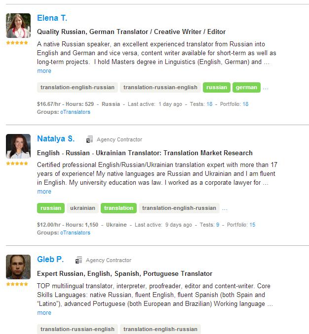 translator Russian oDesk search