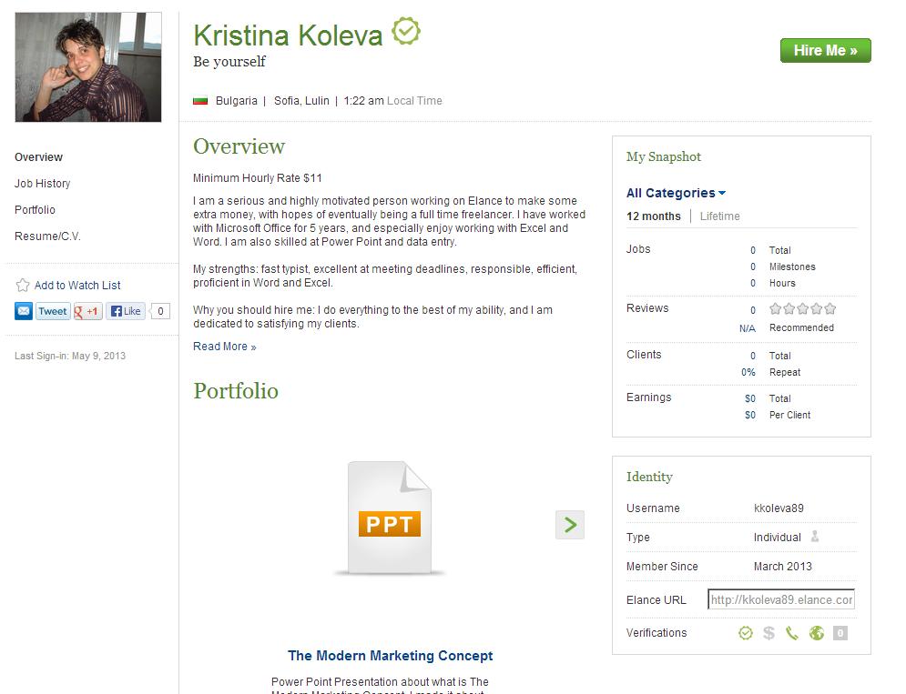 Kristina Koleva Elance Profile